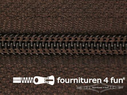Niet deelbare nylon rits 3mm donker bruin