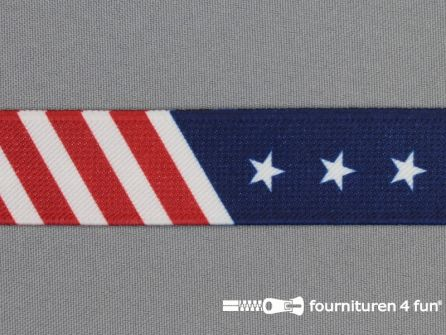 Elastiek met sterren 25mm America stars and stripes