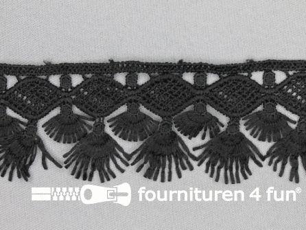 Franje met kant 50mm zwart