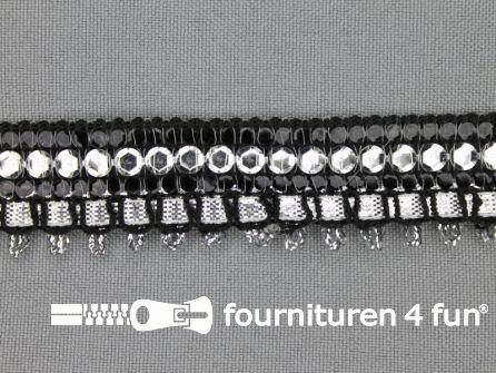 Party band 23mm zwart - zilver