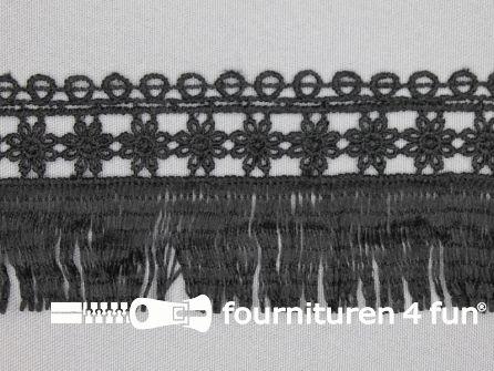 Franje met kant 58mm zwart