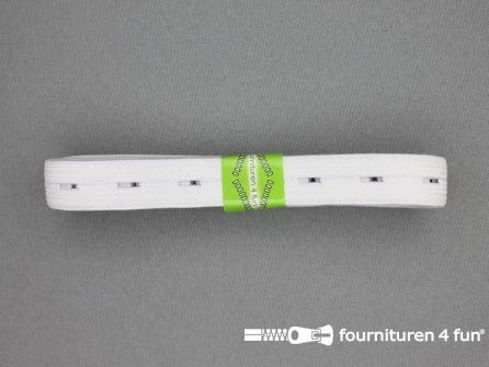 Knoopsgaten elastiek 15mm wit 2 meter