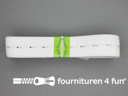 Knoopsgaten elastiek 25mm wit 2 meter