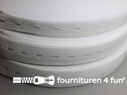 Rol 30 meter knoopsgaten elastiek 15mm wit
