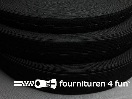 Rol 30 meter knoopsgaten elastiek 25mm zwart