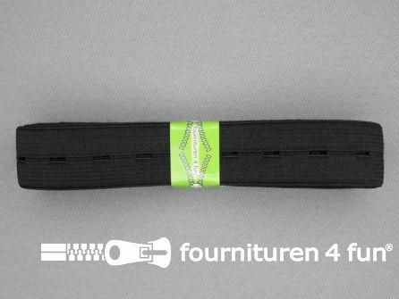 Knoopsgaten elastiek 25mm zwart 2 meter