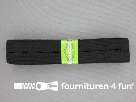 Knoopsgaten elastiek 30mm zwart 2 meter