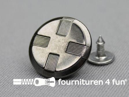 Jeansknopen 15mm zwart zilver