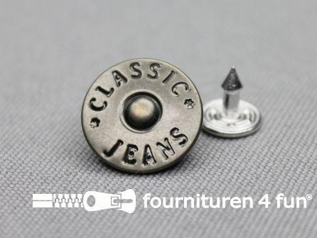 Jeansknopen 16mm oud zilver 8 stuks