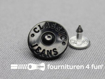 Jeansknopen 16mm zwart 8 stuks