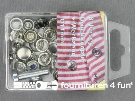 Jersey drukkers 11mm zilver 8 stuks
