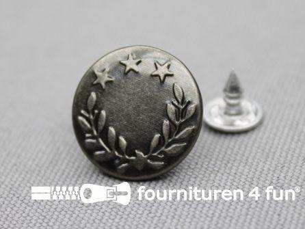 Jeansknopen 17mm zwart zilver- lauwerkrans - 10 stuks