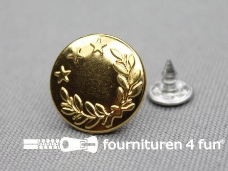 Jeansknopen 17mm goud- lauwerkrans - 10 stuks