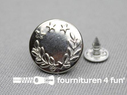 Jeansknopen 17mm zilver- lauwerkrans - 10 stuks