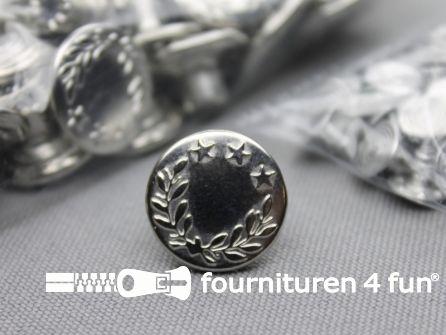 Jeansknopen 17mm zilver- lauwerkrans - 100 stuks