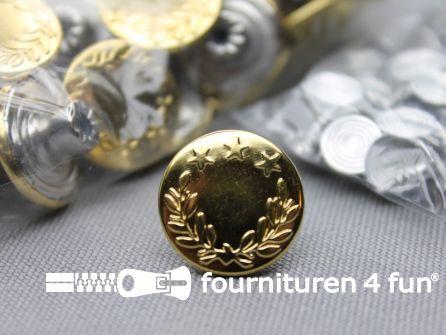 Jeansknopen 17mm goud - lauwerkrans - 100 stuks