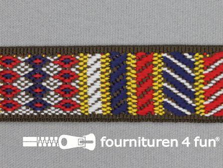 Indianenband 27mm geel - wit - blauw - rood