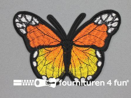 Vlinder applicatie 118x85mm oranje - geel