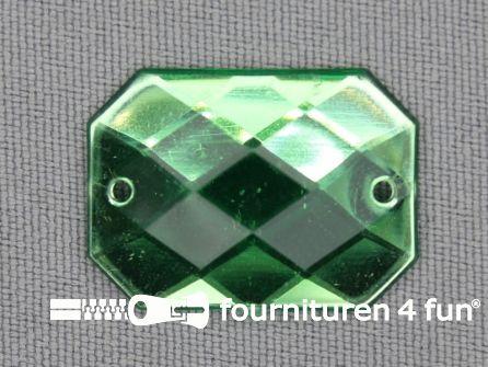 5 stuks Strass stenen rechthoek 25x18mm groen