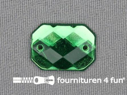 10 stuks Strass stenen rechthoek 18x13mm groen