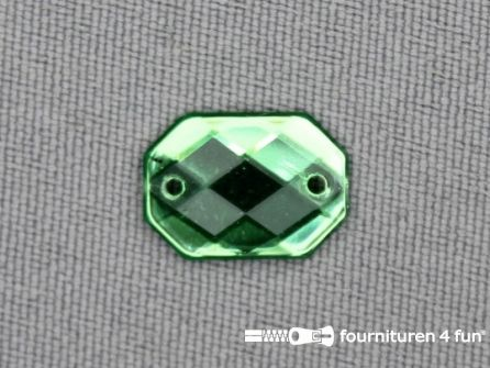 10 stuks Strass stenen rechthoek 14x10mm groen