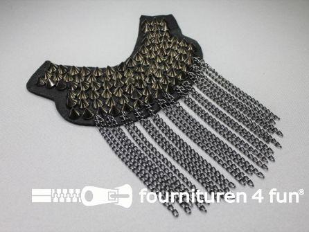 Steampunk schouder epaulet 175x120mm zwart zilver