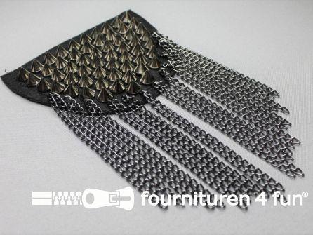 Steampunk schouder epaulet 120x90mm zwart zilver