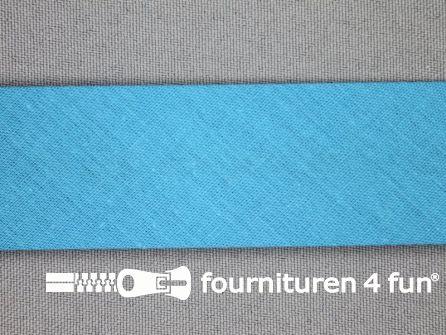 Rol 25 meter katoenen biasband 30mm aqua blauw