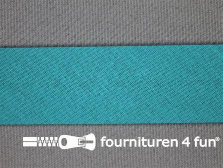 Rol 25 meter katoenen biasband 30mm turquoise
