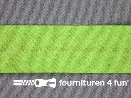 Rol 25 meter katoenen biasband 30mm lime groen