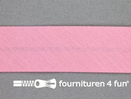 Rol 25 meter katoenen biasband 30mm roze
