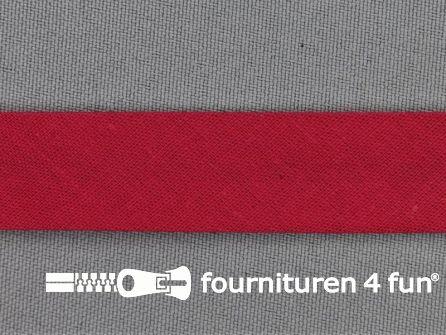 Rol 25 meter katoenen biasband 18mm fuchsia rood