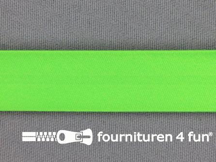 Rol 25 meter satijnen biasband 18mm neon groen