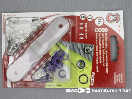 Baby drukkers 9,7mm paars 15 stuks