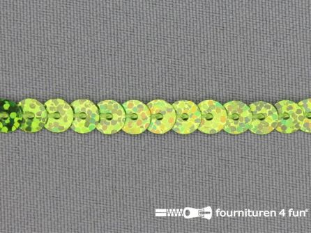 Pailletten band 6mm hologram lime groen