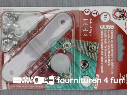 Roland drukkers 10,5mm donker rood 15 stuks