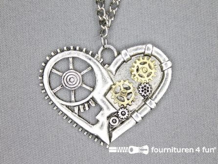 Steampunk ketting hart 40x50mm