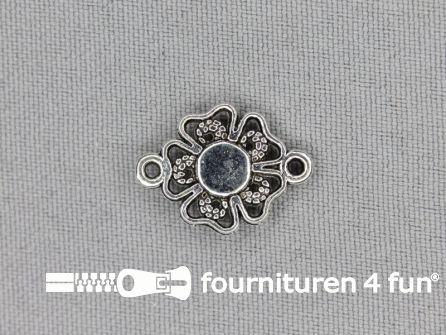 Steampunk hanger 20x15mm bloem zilver