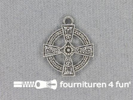 Steampunk hanger 20x23mm tempeliers kruis zilver