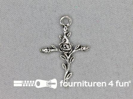 Steampunk hanger 22x32mm kruis met roos zilver