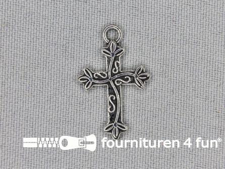 Steampunk hanger 15x25mm kruis zilver
