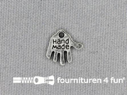 Steampunk hanger 12x12mm handje Handmade zilver