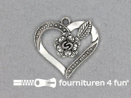 Steampunk hanger 28x28mm hart zilver