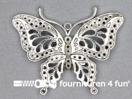 Steampunk hanger 60x47mm vlinder zilver