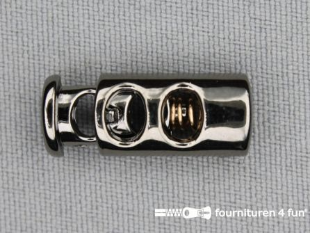 Koord stopper 23mm cilinder zwart zilver