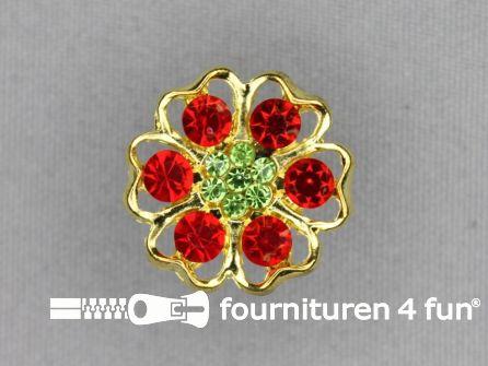 Strass stenen knoop 22mm rood geel goud