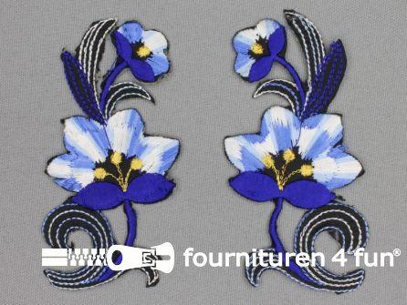 Bloem applicatie 100x47mm kobalt blauw - per paar