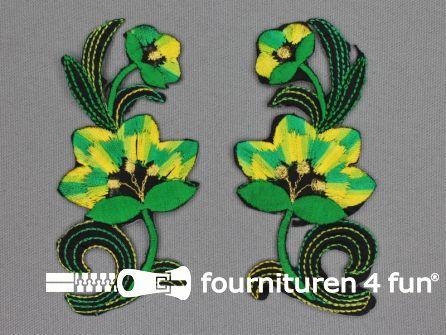 Bloem applicatie 100x47mm groen - geel - per paar