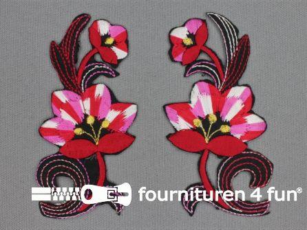 Bloem applicatie 100x47mm rood - roze - per paar