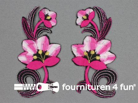 Bloem applicatie 100x47mm fuchsia - roze - per paar